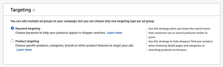 Amazon PPC Guide Manual targeting options