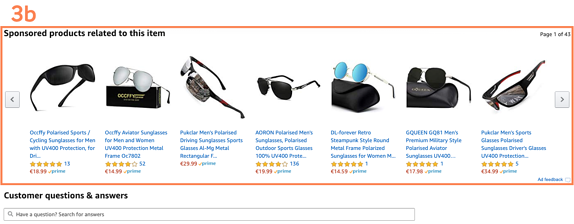 Amazon Sponsored Products: Ad positions on the product detail pages above the customer feedback area