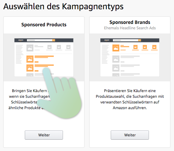 Amazon Seller Central - Sponsored Products Kampagne erstellen - clicks