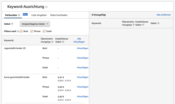 Amazon Sponsored  Products - Keyword Ausrichtung