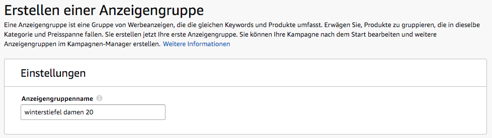 Amazon Sponsored Products - Anzeigengruppe erstellen
