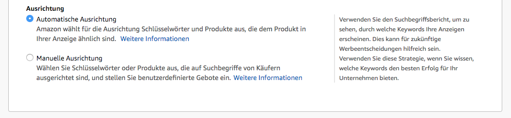 Amazon Sponsored Products - Automatische Ausrichtung