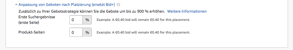 Amazon Sponsored Products - Bid Modifier nach Platzierung