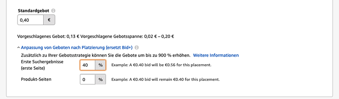 Amazon Sponsored Products - Gebote anpassene nach Platzierungen-1