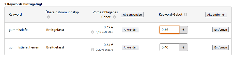 Amazon Sponsored Products - Gebote festlegen