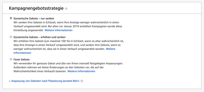Amazon Sponsored Products - Kampagnengebotsstrategie