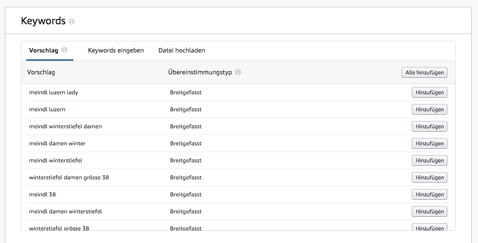 Amazon Sponsored Products - Keywords hinzufügen