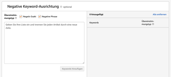 Amazon Sponsored Products - Negative Keyword Ausrichtung