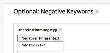 Amazon Sponsored Products - Negative Keywords