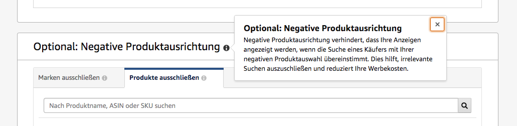 Amazon Sponsored Products - Negative Produktausrichtung