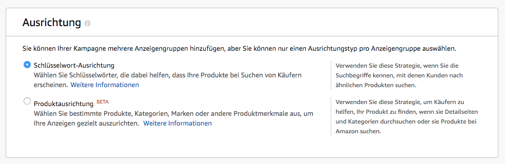 Amazon Sponsored Products - manuell - Ausrichtung