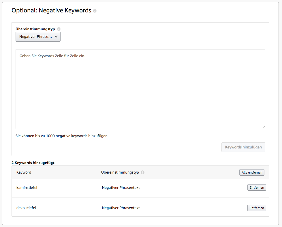 Amazon Sponsored Products - negative Keywords hinzufügen