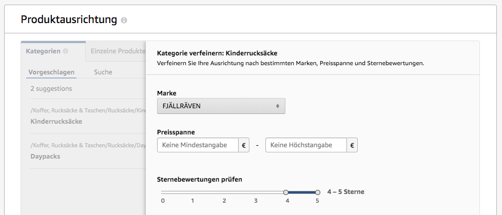Amazon Sponsored Products Produkte Targeting