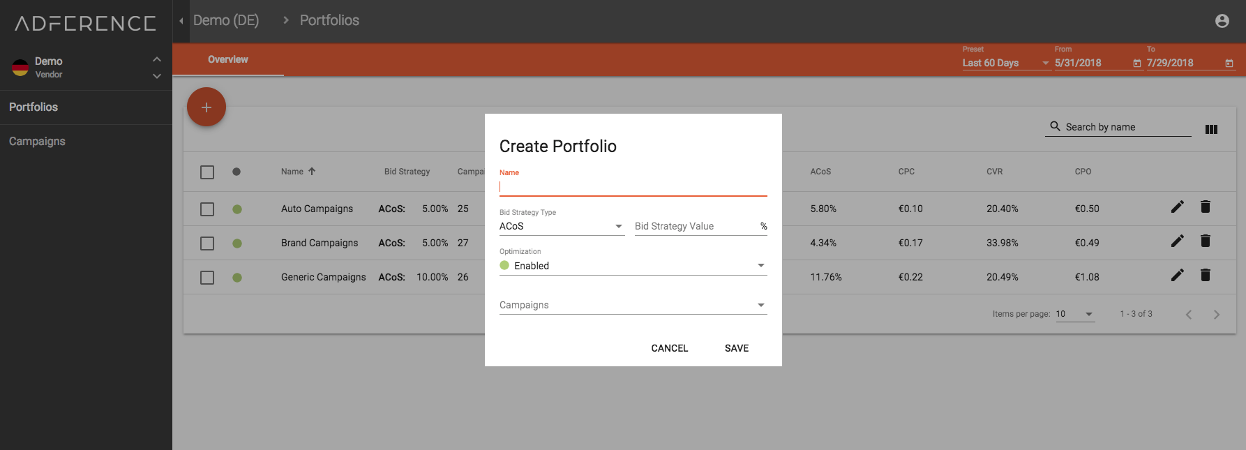 Group and manage your campaigns in portfolios